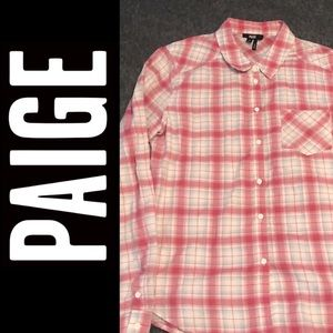 Paige Flannel Plaid Pink Top